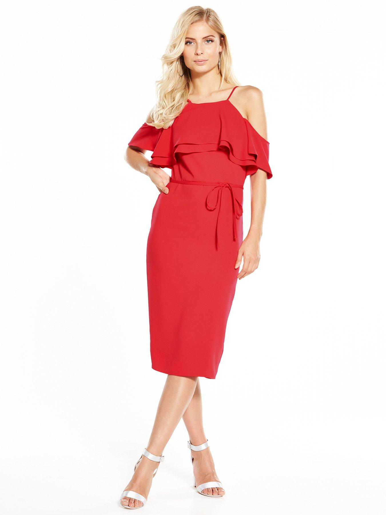 V by Very Cold Shoulder Frill Dress